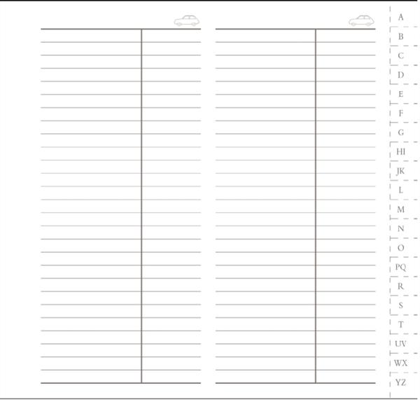 Interior Agenda Telefonica IT347 7x13.6 cm cu sectiuni separate prin etichete de la A la Z