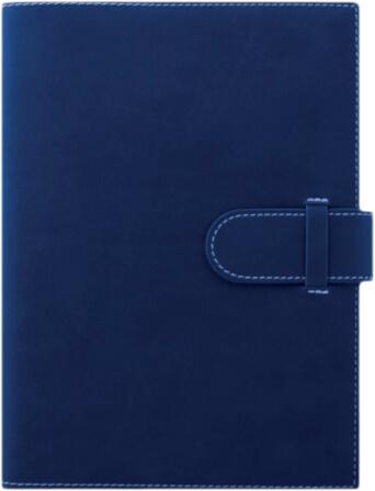 Agenda lux Arles albastra cu interior ivory si bloc mobil aurit