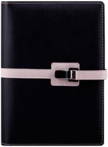 Agenda Lux Clip Neagra interior ivoriu bloc aurit