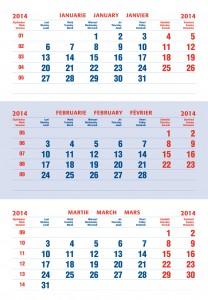 Calendar triptic clasic 2014