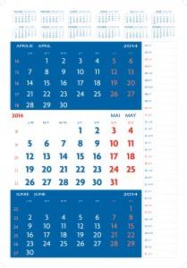 Calendar triptic special datat 2014 3 culori