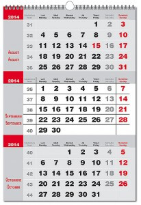 Calendar Triptic 2014 la doua culori